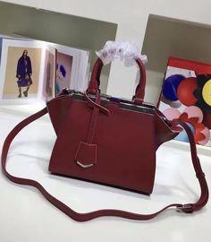 Fendi Mini 3Jours in Wine Red Leather Handbag.  Find more Fendi bags at http://www.luxtime.su/fendi-bags