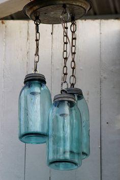 Blue mason jar ceiling light