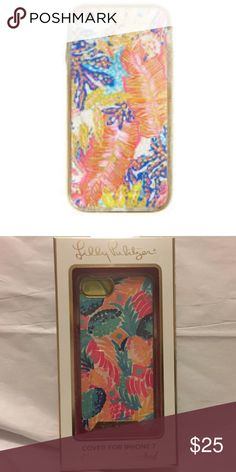 Lilly Pulitzer iPhone 7 Cover NEW IN BOX Your iPhone is your best accessory. Dress it up with this foil printed, clear plastic iPhone 7 cover. Super cute and colorful.   Transparent Foil Printed iPhone Cover. Lilly Pulitzer Accessories Phone Cases