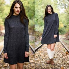 This little number has everything you need in a good fall dress! The mock neck and ribbed material are right on trend! $31.50. Order via Instagram or from stylerevel.com!