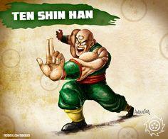 Ilustración de Ten Shin Han para Battle Royale Heroes! Homenaje de los héroesde nuestra infancia. Realizado con un boceto a lápiz y luego color digital mediante Photoshop.