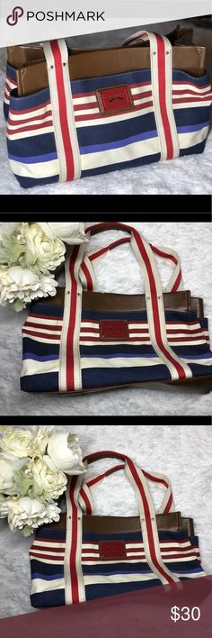 Tommy Hilfiger Canvas Tote Signature Classic Width is 6.5in, height 9in and length is 13.5in. Canvas striped medium classic tote. Inside is clean. Small spots of yellowing on he back around the vertical strap line. Please see pictures. Great bag! Tommy Hilfiger Bags Totes