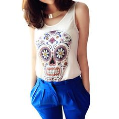 Allegra K Lady Sleeveless Hearts Detail Skull Printed Front Casual Tank Top White XS $7.74 #topseller