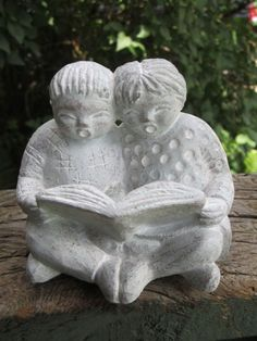 "Isabel Bloom Sculpture of Boy  Girl Reading Book, ca 1986;  3.5"" x 4"""