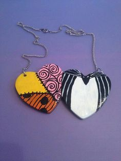 Nightmare Before Christmas Jack and Sally Hearts Necklace Nightmare Before Christmas, Jack Und Sally, Jack The Pumpkin King, Heart Wallpaper, Christmas Decorations, Christmas Ornaments, Christmas Love, Jack Skellington, Clay Projects