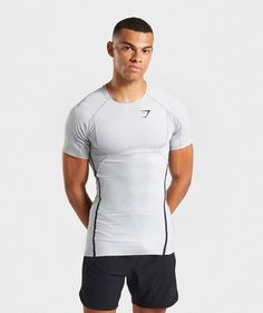 Gymshark Premium Baselayer T-Shirt - Light Grey Gym Clothes Women, Tracksuit Bottoms, Leggings Are Not Pants, Menswear, Mens Tops, T Shirt, How To Wear, Mesh Material, Athletic Wear