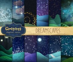 Dreamscapes digital paper backgrounds, fantasy night sky scrapbook paper…