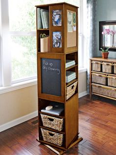 Swivel cabinet free standing shelves - storage tower   Solutions