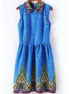 Shop Blue Sleeveless Gemstone Print Dress online. Sheinside offers Blue Sleeveless Gemstone Print Dress & more to fit your fashionable needs. Free Shipping Worldwide!