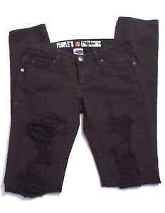 Womens Size 25 in. Long Inseam People's Liberation Black Distressed Skinny Jeans. $9.99