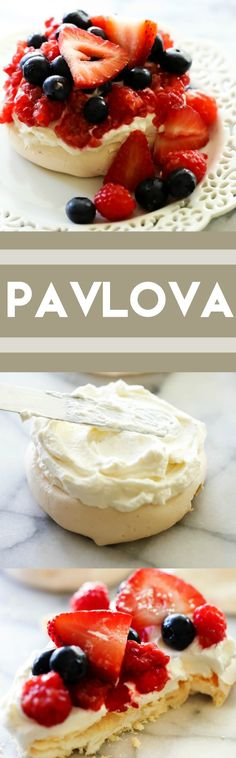 This recipe for Easy Pavlova is light, crisp, chewy and airy. It is absolutely delicious topped with whipped cream and fresh fruit!