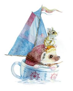 Sailboat teacup Hedgehog and Mouse watercolor by TinkersHeart, $10.00