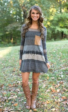 That's The One Stripe Tunic Dress Charcoal - The Pink Lily Boutique