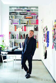 Designer Jason Wu's atelier. Love the bright pops of colour.