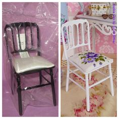 OOAK Barbie chair with petit point seat cushion