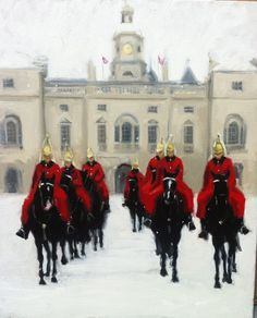 Painting of the Queens Guard's on parade in snow.  Oil on Canvas.  Artist:  Charlotte Partridge