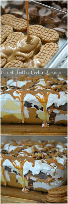 This Peanut Butter Cookie Lasagna is a no-bake dessert. The layers of Nutter Butters, pudding, whipped cream, peanut butter and candy is irresistible! Peanut Butter Cookie Lasagna, Peanut Butter Recipes, Peanut Butter Cookies, Nutter Butter, 13 Desserts, Dessert Recipes, Layered Desserts, Cool Whip Desserts, Pudding Desserts