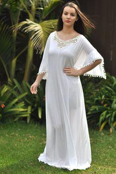 Long kaftan white kaftan lace kaftan kaftan by Goddessresortwear