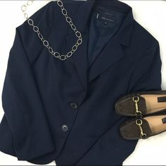 """Anne Klein Classic Navy Suit Petite This must have work wardrobe piece is in perfect shape! Each piece is fully lined, with a bit of stretch to make your day just a bit easier! Jacket is 14P, trousers are 12P with a 30"""" inseam and 11"""" rise. Listing includes BOTH pieces, no flaws to either! Anne Klein Jackets & Coats Blazers"""