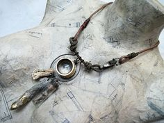He Had Been in Heaven. Victorian Tribal Recycled Assemblage Rustic Found Object Choker with Gold Foil.
