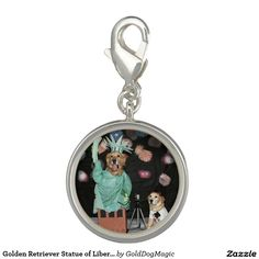 Golden Retriever Statue of Liberty and Tourist Charm