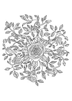 Coloriage mandala rose sur Hugolescargot.com - Hugolescargot.com