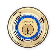 Kwikset Electronic Bluetooth Single Cylinder Deadbolt Polished Brass Metal (Grey) 2 Grade Right Handed