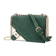 Metal Embellished Chain Color Block Crossbody Bag Green ($21) ❤ liked on Polyvore featuring bags, handbags, shoulder bags, colorblock crossbody, green crossbody purse, cross-body handbag, color block purses and color block handbags