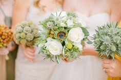 Interesting idea to have bridesmaids each carry a bouquet with one type of flower from bride's bouquet
