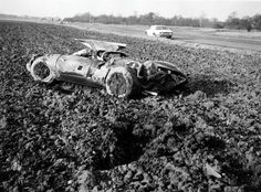 1965 Jaguar - crashed at 140mph while testing for Le Mans 24-hr by driver Norman Dewis {after breaking the track lap record of 161mph}