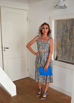 What to wear to Amsterdam Fashion Week...  This tropical outfit by Zara is the perfect, statement look for a Fashion Week event in Summer. I teamed this with a bright, colourful clutch bag from Dorothy Perkins and lace up heels, also from Zara. My favourite shoes EVER.