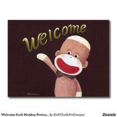 Welcome Sock Monkey Postcard