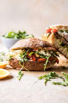 Antipasto Mozzarella Sandwich with Lemony Basil Pesto | halfbakedharvest.com #sandwich #italian #spring #summer #recipes via @hbharvest