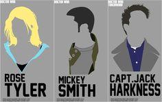 Minimalist Headshots of major Doctor Who characters - Rose Tyles, Mickey Smith, Capt. Jack Harkness