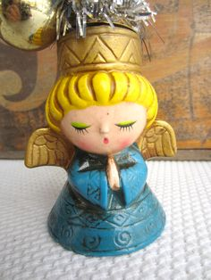 Vintage Christmas Decoration Blonde Angel in Blue Candle Holder by Wolin Japan