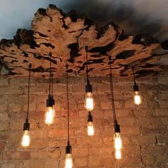 Live-Edge Olive Wood Chandelier With Edison Bulbs//Rustic//Contemporary//Industrial by Paul Miller