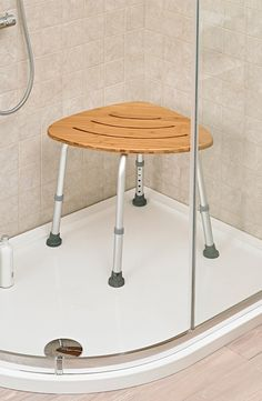 Stay safe in the shower with the Deluxe Bamboo Bath Stool.