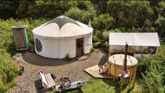 Yurt : 'Cloud House' Traditional Mongolian Ger, Off Grid Home, Movement Studio, Guest House Glamping Wales, Go Glamping, Camping, Wood Stove Chimney, Glamping Holidays, Yurt Living, Farm Stay, Outdoor Furniture Sets, Outdoor Decor