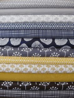 Fabrics... Pezzy Prints and Echo. Grey, Navy, Yellow/Gold, Brown/Black