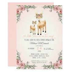 Baby Girl Shower Little Deer Antler Roses Floral