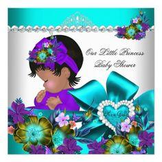 Princess Baby Shower Girl Teal Blue Purple 3 Announcement