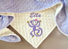 PERSONALIZED BABY or TODDLER BLANKET Monkey designer applique. Perfect personalized gift for Baby girl or Toddler girl. Premium Plush & Minky 3