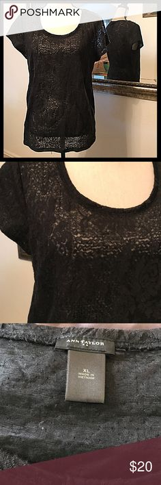 Ann Taylor Black Semi Sheer Stretch Lace Top XL Ann Taylor stretch Lace semi sheer top. Bust measures 19 inches laying flat not doubled and is 27 inches long. Ann Taylor Tops Blouses