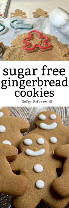 This is the Recipe for Yummy Sugar Free Gingerbread Cookies that can be used to make into cookies or even for a gingerbread house. Sugar Free Deserts, Sugar Free Sweets, Sugar Free Cookies, Sugar Free Recipes, Sugar Free Muffins, Diabetic Cookies, Diabetic Desserts, Diabetic Recipes, Diabetic Foods