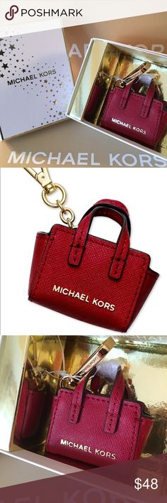 MICHAEL KORS NEW PURSE KEYCHAIN AUTH MICHAEL KORS NEW NEVER USED WITH TAGS PURSE KEYCHAIN 100% AUTHENTIC. SO ADORABLE AND VERY  FASHIONABLE. PERFECT ADDITION TO YOUR KEY RING OR EVEN A PURSE CHARM. A MINIATURE COATED CANVAS MICHAEL KORS SELMA BAG. THIS ITEM COMES IN A STUNNING MICHAEL KORS GIFT BOX. PERFECT ITEM FOR YOU OR A EXCELLENT HOLIDAY GIFT. THE COLOR IS CALLED CHERRY WHICH TO ME IS A DEEP RED Michael Kors Bags
