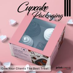 Give your clients the best treat 🍡they deserve with creative packaging designs. Give your tasty cupcakes,🥮 luxury, and stylish packaging with bright colors to give a big smile to all your customers. 💭Rethink Your Custom Packaging! Visit our website Now! For Attractive Discounts💥 #printcosmo #printing #packaging #branding #CustomCupcakeBoxes luxury and stylish packaging with bright colors to give a big smile to all your customers. Cupcake Packaging, Custom Packaging Boxes, Box Packaging, Custom Boxes, Packaging Design, Personalised Cupcakes, Custom Cupcakes, Packaging Services, Cupcake Boxes