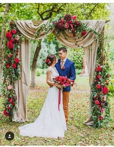 red fall floral wedding arch
