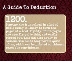A Guide To Deduction. There's some cool stuff on this site!
