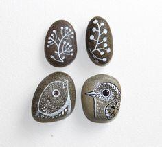 Painted River Rocks /Home decor /Room decor /interior design element /napkin holder /white gray /natural hand painted rocks / bird art / via Etsy