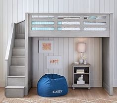 Bunk beds are great for siblings and sleepovers. Shop Pottery Barn Kids' bunk beds and loft beds for kids with functional and sturdy styles. Bunk Beds For Boys Room, Bed For Girls Room, Bunk Beds With Stairs, Kid Beds, Loft Bed With Couch, Bed Rooms, Loft Bed Stairs, Diy Bed Loft, Loft Beds Kids